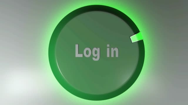 Log in green sign with rotating cursor - 3D rendering video clip A green sign with the write LOG IN  and a rotating cursor - 3D rendering video clip website design stock videos & royalty-free footage