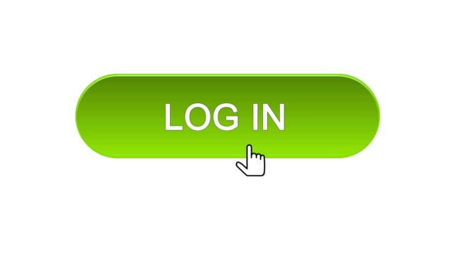 vídeos de stock, filmes e b-roll de login web interface botão clicado com o cursor do mouse, escolha de cor diferente - log on