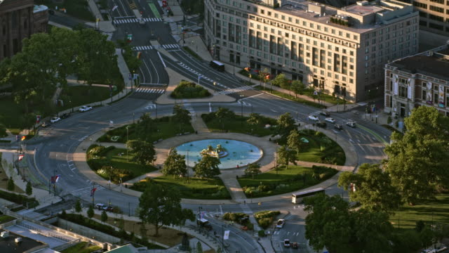 AERIAL Logan Square with adjoining parks in Philadelphia, PA video