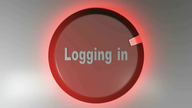Logging in red sign with rotating cursor - 3D rendering video clip Logging in  red sign with rotating cursor - 3D rendering video clip website design stock videos & royalty-free footage