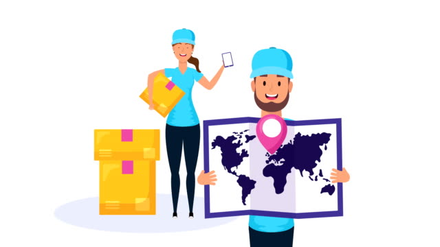 logistic couple workers with boxes and paper map video
