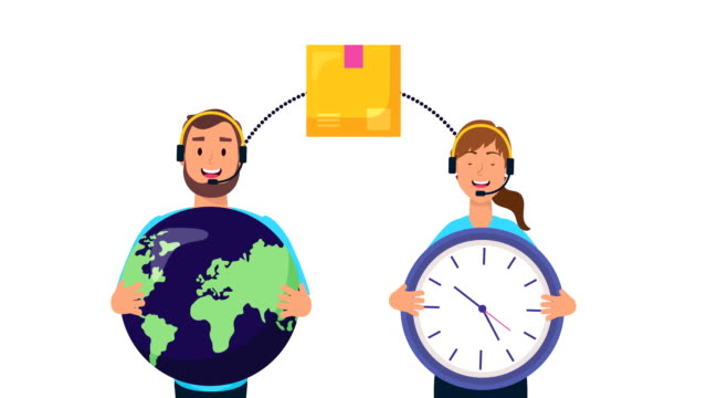 logistic couple workers with earth planet and chronometer video