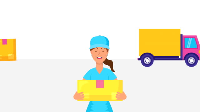 logistic female worker with box and truck video