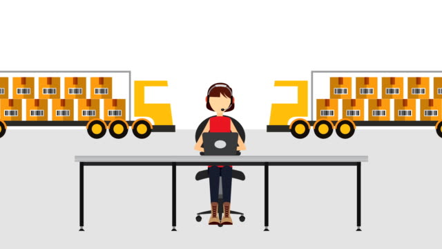 logistic service with woman agent support video