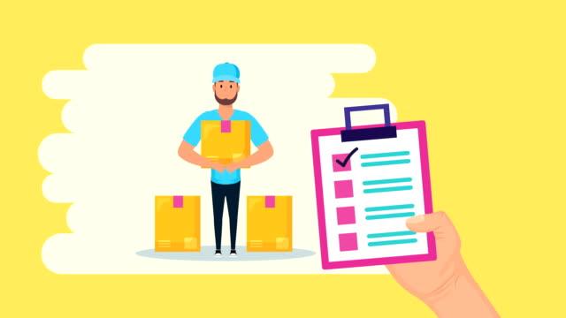 logistikarbetare lyftbox och checklista - skicka datormeddelande bildbanksvideor och videomaterial från bakom kulisserna