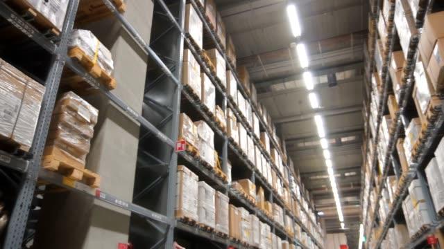 Logistic warehouse full of merchandise, Slow motion