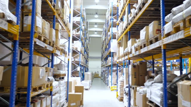 Logistic warehouse full of merchandise video