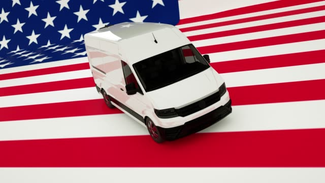 USA Logistics Concept. White Delivery Van on USA Flag background. 3d Rendering