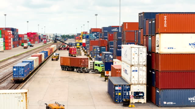 Logistics operation in railroad container yard timelapse video