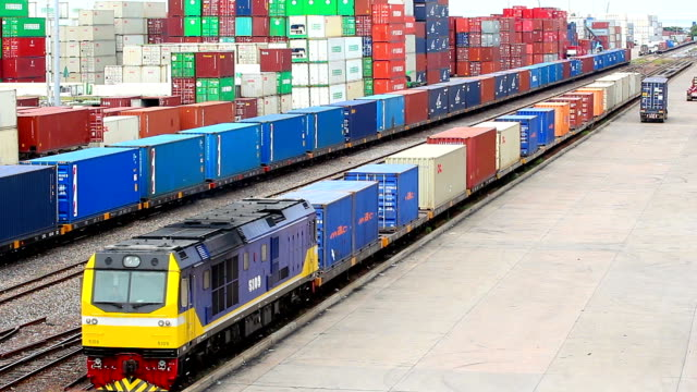 Logistics operation in railroad container yard video
