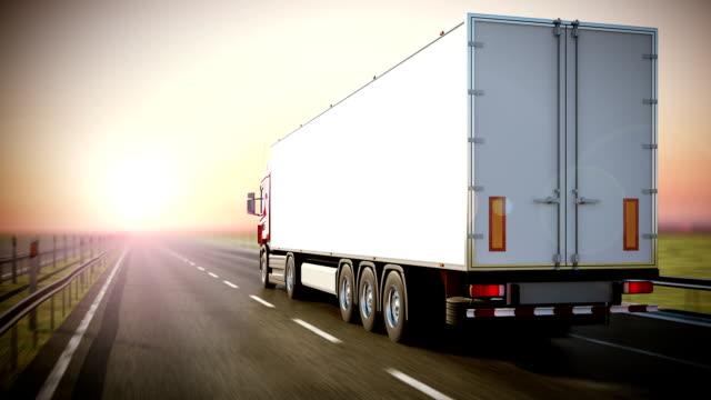 Logistics - Trucking. Back view. video