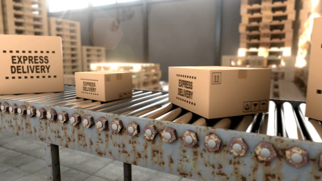 Logistics warehouse where cardboard boxes with parcels are stored seamless loop video