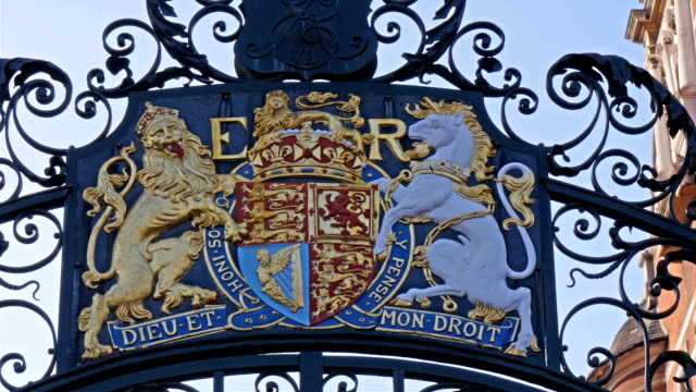 A logo of E R from the Palace of Westminster A logo of E R from the Palace of Westminster The logo image of two horse in gold plated palace stock videos & royalty-free footage