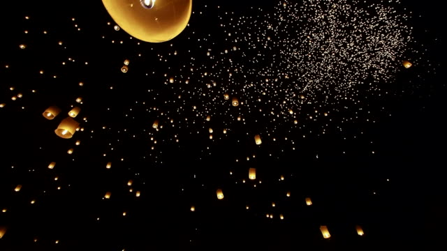 Loi Krathong Festival, Floating Lanterns in the Night Sky, Thailand video