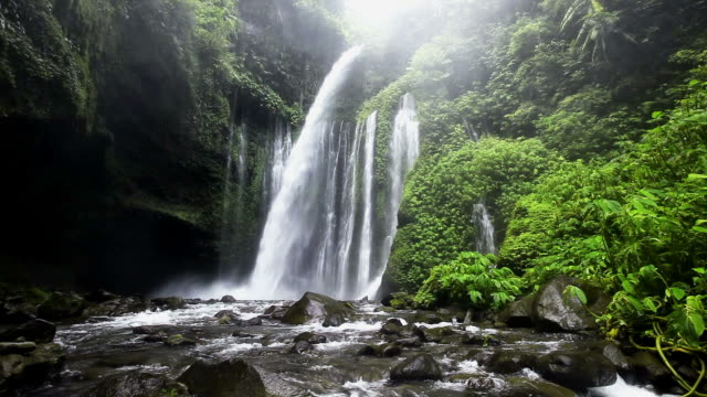 cascata di lombok - landscape video stock e b–roll
