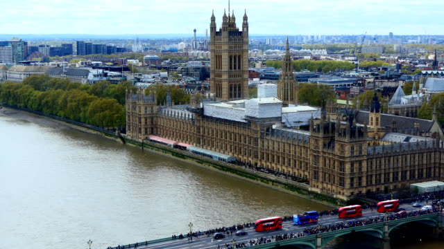London aerial panorama Westminster bridge and Parliament video