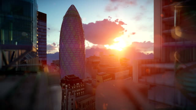 London beautiful sunrise over Swiss Reinsurance Headquarters, The Gherkin, camera fly video