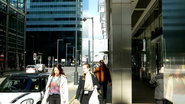 London Canary Wharf Street Scene (4K/UHD to HD) video