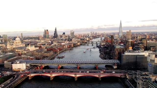 London City Aerial Helicopter Flight Urban Skyline video