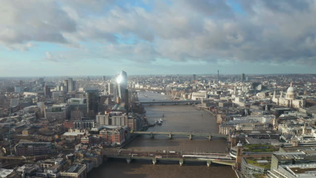 london city centre aerial panorama view: financial district, thames river, belfast, skyscrappers, warf and buildings and st. pauls cathedral, tower bridge and the tower - london architecture stock videos & royalty-free footage