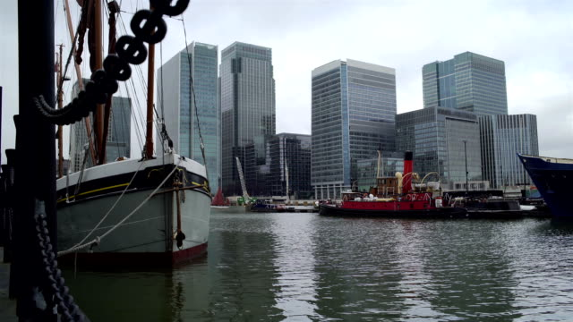 London Docklands, dock, boats and office towers. video