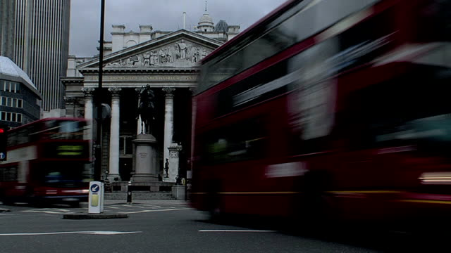 London Double Decker Busses at Royal Exchange video