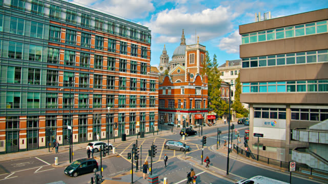 London Downtown Street, Old and New Architecture. Cityscape london architecture stock videos & royalty-free footage
