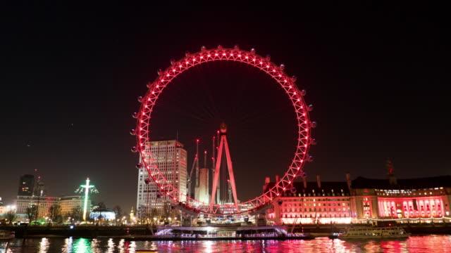 London eye at night,Time lapse. video