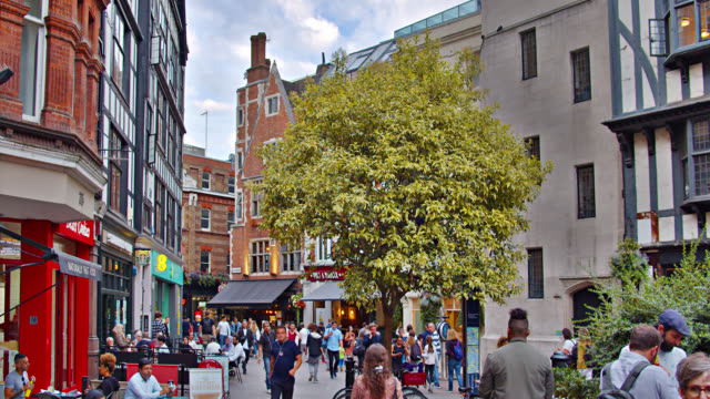 London Lovely City Street With Retro Small Stores and Cafes
