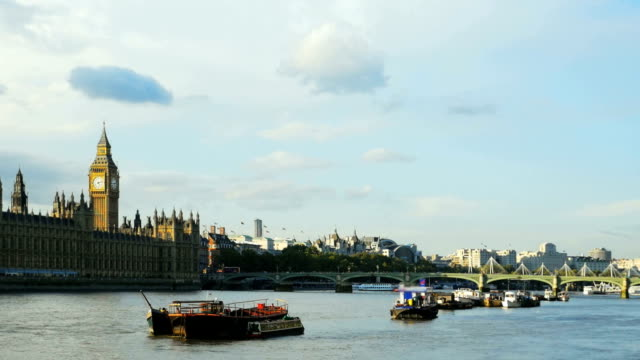 T/L London River Thames And Houses Of Parliament video