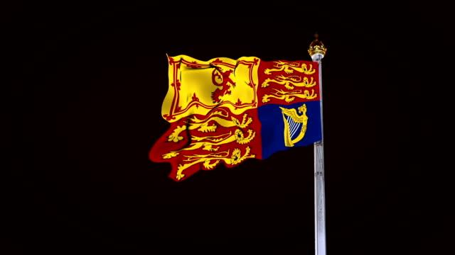 London Royal flag waving at night, LOOP BACKGROUND video
