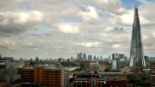 London skyline from Bankside looking towards Docklands, Canary Wharf. video