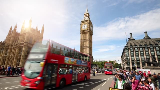 London Skyline with Westminster Bridge, time lapse video