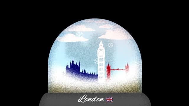 London Snow Globe Cartoon Animation in Seamless Loop