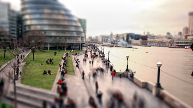 London South Bank pedestrians time-lapse cross processed HD video video