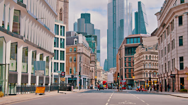 London Street. Business downtown. Old Retro house. Financial Building. Day. Cityscape london architecture stock videos & royalty-free footage
