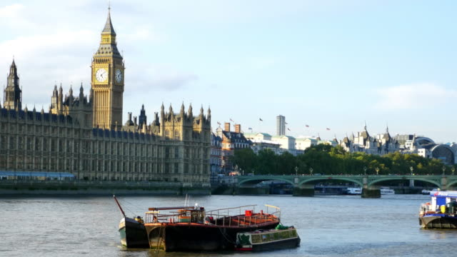 London Thames River and Houses of Parliament video