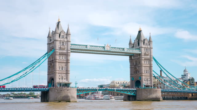 London tourist attraction old Tower Bridge on Thames River. London City skyline. video