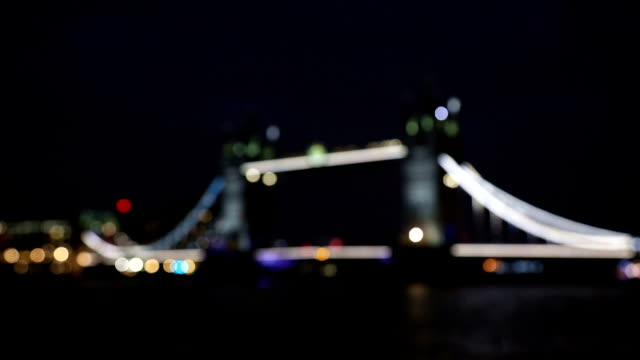 London Tower Bridge, Night blur view, UK video