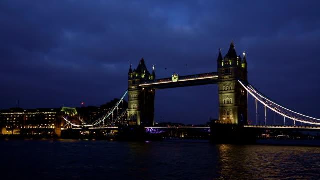 London Tower Bridge, Night Time Lapse, UK video