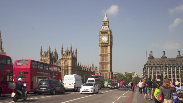 london, traffic on westminster bridge - london architecture stock videos & royalty-free footage