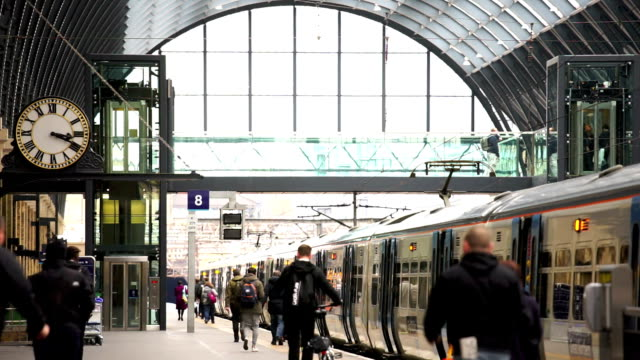 London train tube station, passengers in rush hour, England, UK video
