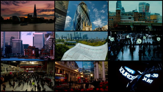 London Video Wall with Financial Landmarks video