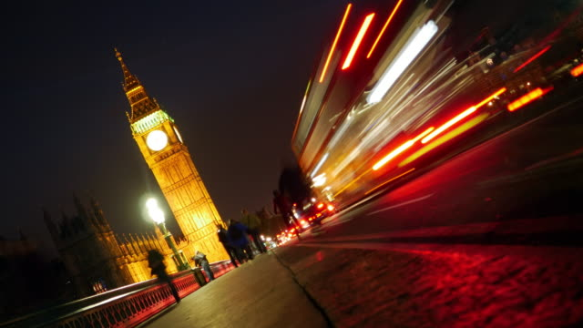 London Westminster Bridge And Big Ben At Night video