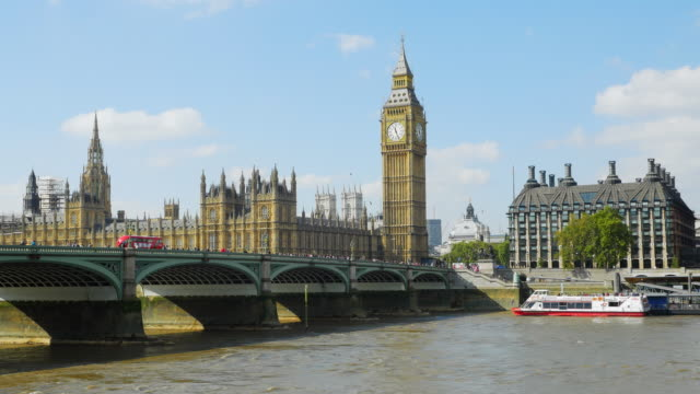 London Westminster Bridge And Big Ben On Sunny Day (UHD) video