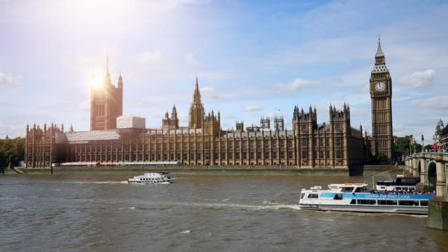 london westminster with sun - londra video stock e b–roll