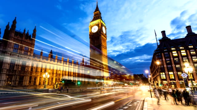 Londres com Big Ben ao pôr do sol, Time Lapse - vídeo