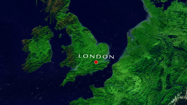 London Zoom In Zoom to geographic earth from space 4K Resolution animation uk map stock videos & royalty-free footage