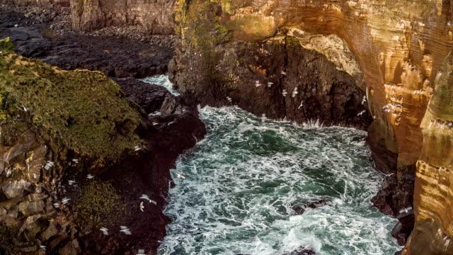 vídeos y material grabado en eventos de stock de acantilados de basalto londrangar - basalto