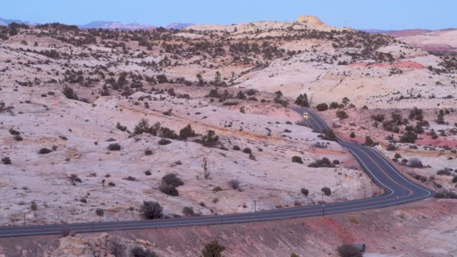 Lone Car On Highway 12 Grand Staircase Escalante Desert video